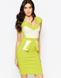 Платье миди с контрастными вставками Vesper Brandy - Лайм