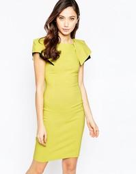 Платье миди с отделкой на плечах Vesper Logan - Лайм