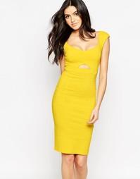 Платье миди с вырезом капелькой Vesper Sienna - Желтый