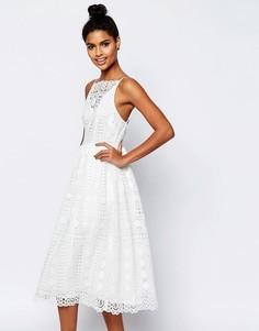 Платье миди из кружева с геометрическим узором ASOS Premium - Белый