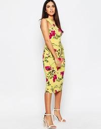 Платье миди с ярким цветочным принтом и кроем в стиле майки-борцовки с Club L