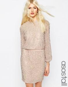 Платье мини с длинными рукавами и отделкой жемчугом ASOS TALL Premium