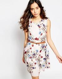 Платье с розами и поясом Iska - Кремовый