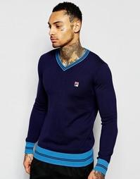 Джемпер с V-образным вырезом и логотипом Fila Vintage - Темно-синий