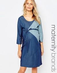 Джинсовое платье со вставками Mamalicious - Синий Mama.Licious