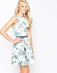 Короткое приталенное платье с поясом и принтом Closet - Цветочный