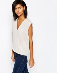 Блузка без рукавов с драпированным запахом ASOS - Серый