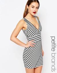 Облегающее платье в полоску с глубоким вырезом Boohoo Petite - Мульти