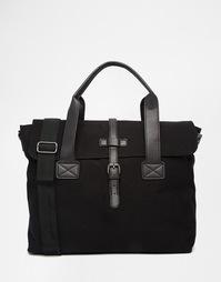 Черный парусиновый портфель с отделкой ASOS - Черный