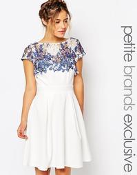 Платье для выпускного с кружевной вставкой Paper Dolls Petite - Белый