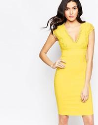 Платье с короткими рукавами и кружевным лифом City Goddess - Желтый