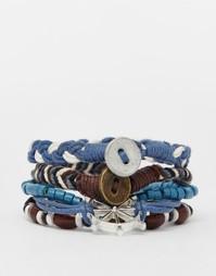 Комплект синих кожаных браслетов с брелоками в морском стиле ASOS