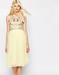 Платье из тюля с декоративной отделкой Needle & Thread - Лимонный
