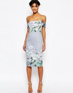 Платье-футляр миди с цветочным принтом ASOS - Мульти