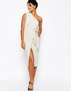 Платье-футляр миди на одно плечо ASOS - Серый