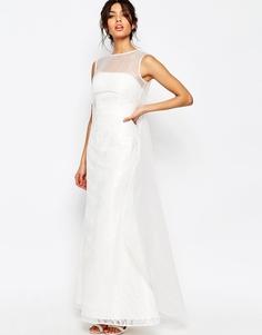 Платье макси с сетчатой накладкой Jarlo Jude - Слоновая кость