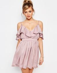 Платье мини с оборкой и открытыми плечами Oh My Love - Сиреневый