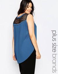 Тканая блузка без рукавов с кружевной вставкой и складками Junarose