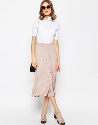 Расклешенная юбка миди с кнопками ASOS - Blush