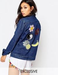 Джинсовая куртка с накладками Liquor & Poker - Синий