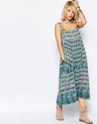 Платье миди Free People Sac Magique - Синий принт