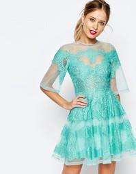 Платье мини из органзы с кружевными вставками ASOS SALON - Мятный