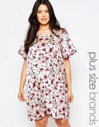 Цельнокройное платье с короткими рукавами и цветочным принтом Junarose