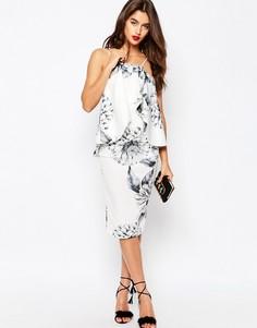 Платье миди с оборками и цветочным принтом ASOS - Цветочный
