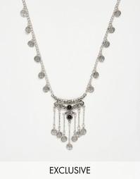 Ожерелье с подвесками‑монетками Reclaimed Vintage - Серебряный