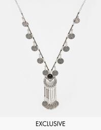 Ожерелье с монетками Reclaimed Vintage - Серебряный