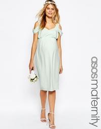 Драпированное платье-футляр миди с вырезами на плечах ASOS Maternity W