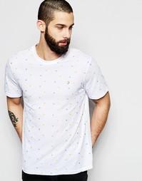 Узкая футболка со сплошной вышивкой Farah - Белый