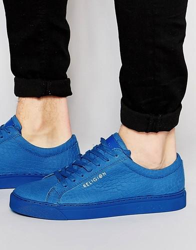 Кожаные кроссовки с отделкой под крокодила Religion - Синий