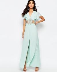 Платье макси на пуговицах, с кружевными вставками и рукавами бабочка J Jarlo