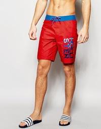 Пляжные шорты с логотипом Hollister - Красный