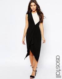 Монохромное платье миди с драпировкой и запахом ASOS TALL