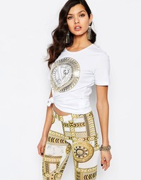 Футболка с золотым логотипом Versace Jeans - Белый