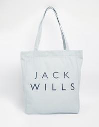 Хлопковая сумка-шоппер Jack Wills - Бледный индиго