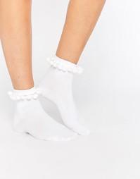 Носки с помпонами Monki - Белый