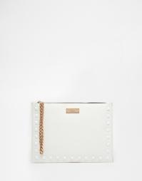 Белый клатч с заклепками Lipsy - Белый