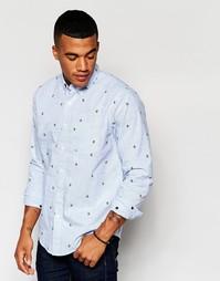 Рубашка кроя слим с якорями Abercrombie & Fitch - Синий