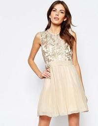 Короткое приталенное платье с кружевным топом Little Mistress