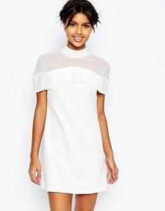 Цельнокройное шифоновое платье мини с оборкой плиссе на топе ASOS