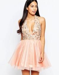 Платье из органзы с глубоким вырезом Rare Opulence - Розовый