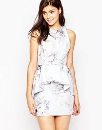 Платье с большой оборкой и цветочным принтом True Violet