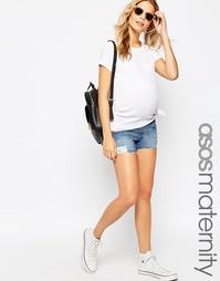 Джинсовые шорты для беременных с необработанной кромкой ASOS Maternity
