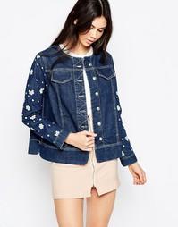 Джинсовая куртка с цветочной аппликацией See By Chloe - Синий