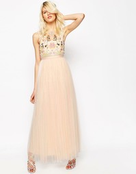 Платье макси из тюля Needle & Thread Foliage - Ballet pink