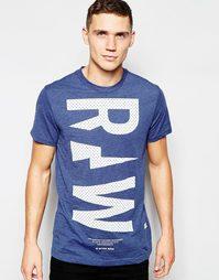Синяя футболка с круглым вырезом и большой надписью Raw G-Star Ruizion