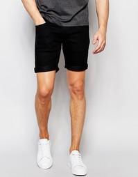 Джинсовые шорты с эластичным поясом Solid - Черный !Solid